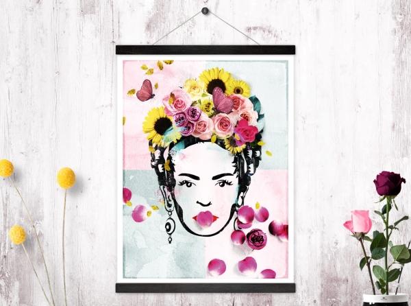 Kunstdruck + Posterleisten Flower Woman