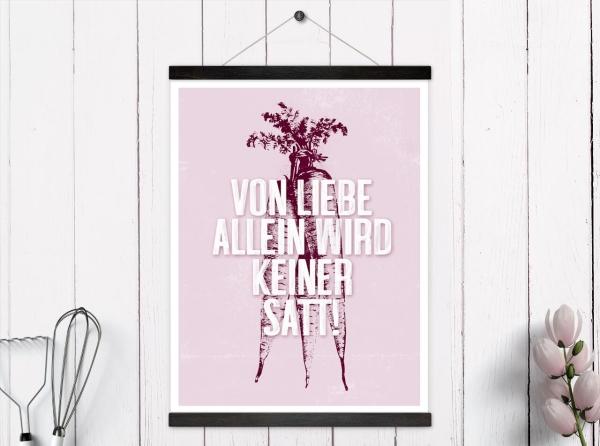 Poster Küche rosa Spruch